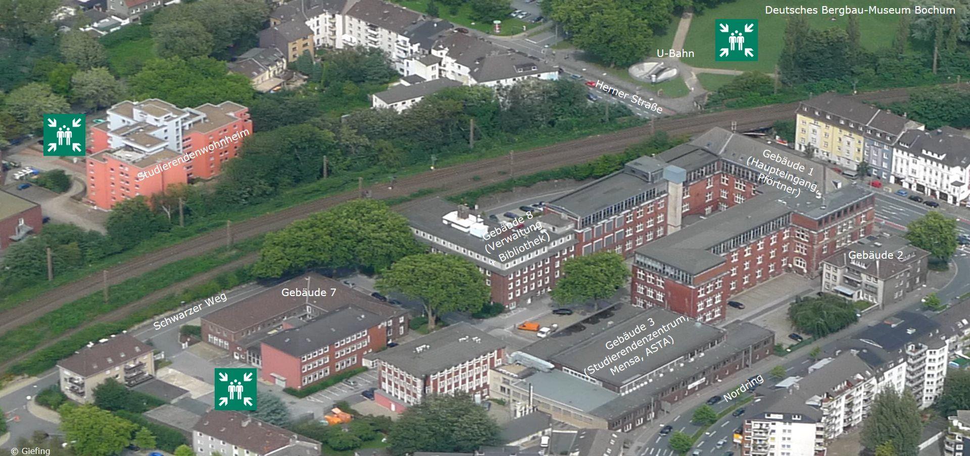 Sammelstellen von THGA, Studierendenwohnheim und Deutschem Bergbau-Museum
